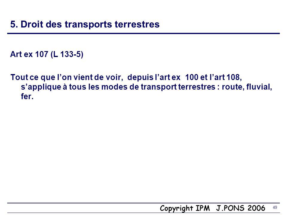 5. Droit des transports terrestres