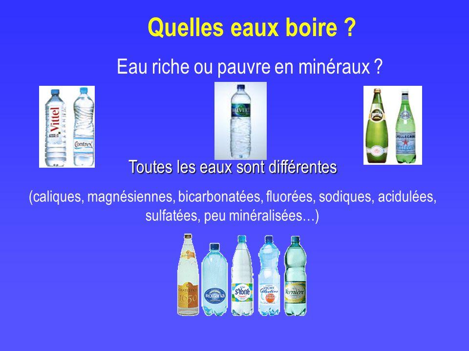 Quelles eaux boire Eau riche ou pauvre en minéraux