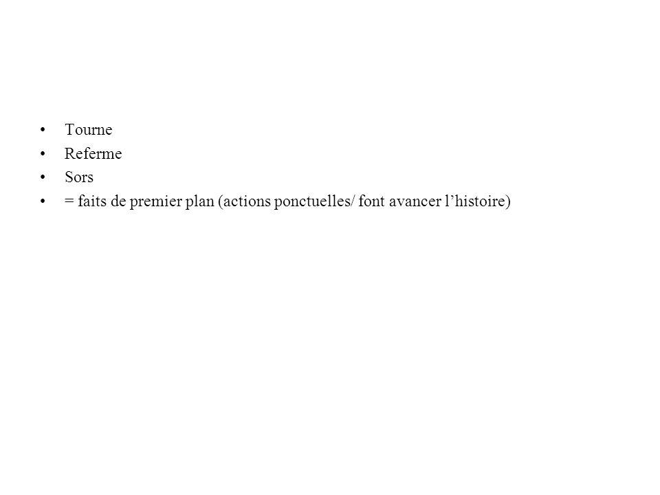 Tourne Referme Sors = faits de premier plan (actions ponctuelles/ font avancer l'histoire)