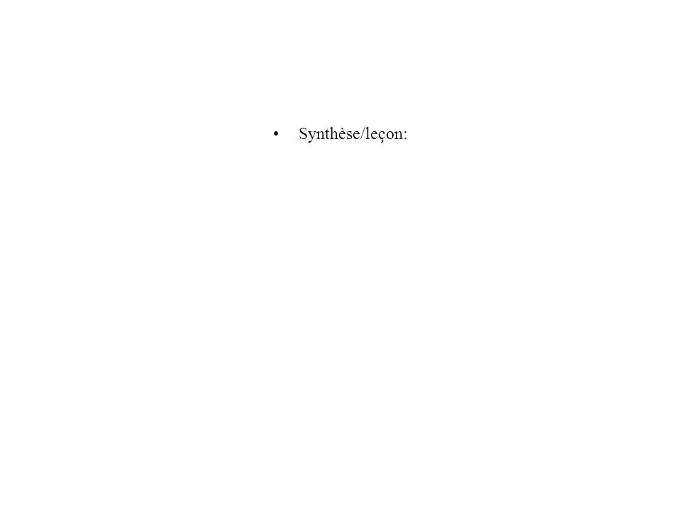 Synthèse/leçon: