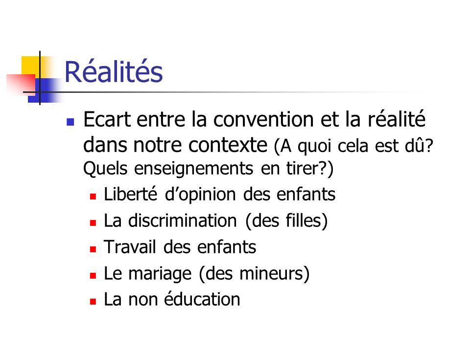 Réalités Ecart entre la convention et la réalité dans notre contexte (A quoi cela est dû Quels enseignements en tirer )