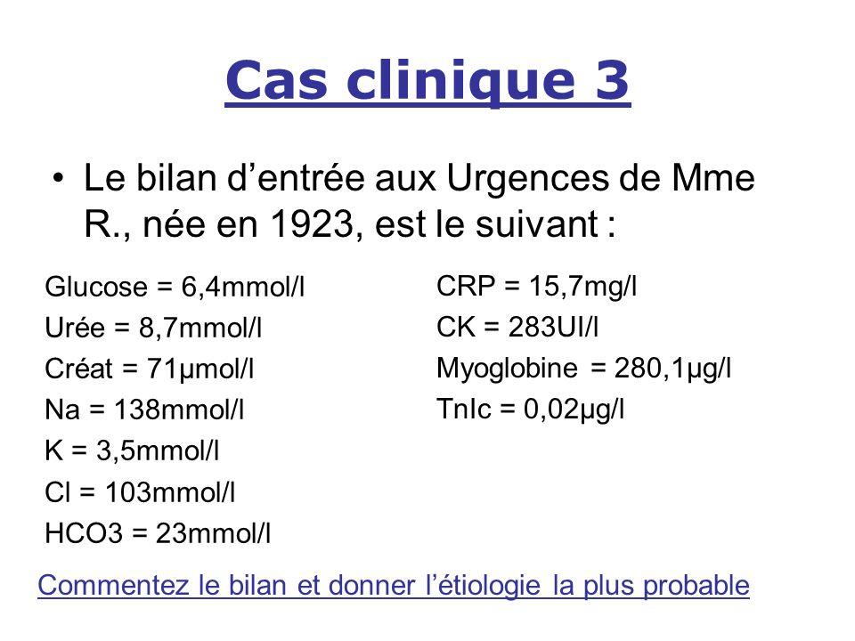 Cas clinique 3 Le bilan d'entrée aux Urgences de Mme R., née en 1923, est le suivant : Glucose = 6,4mmol/l.