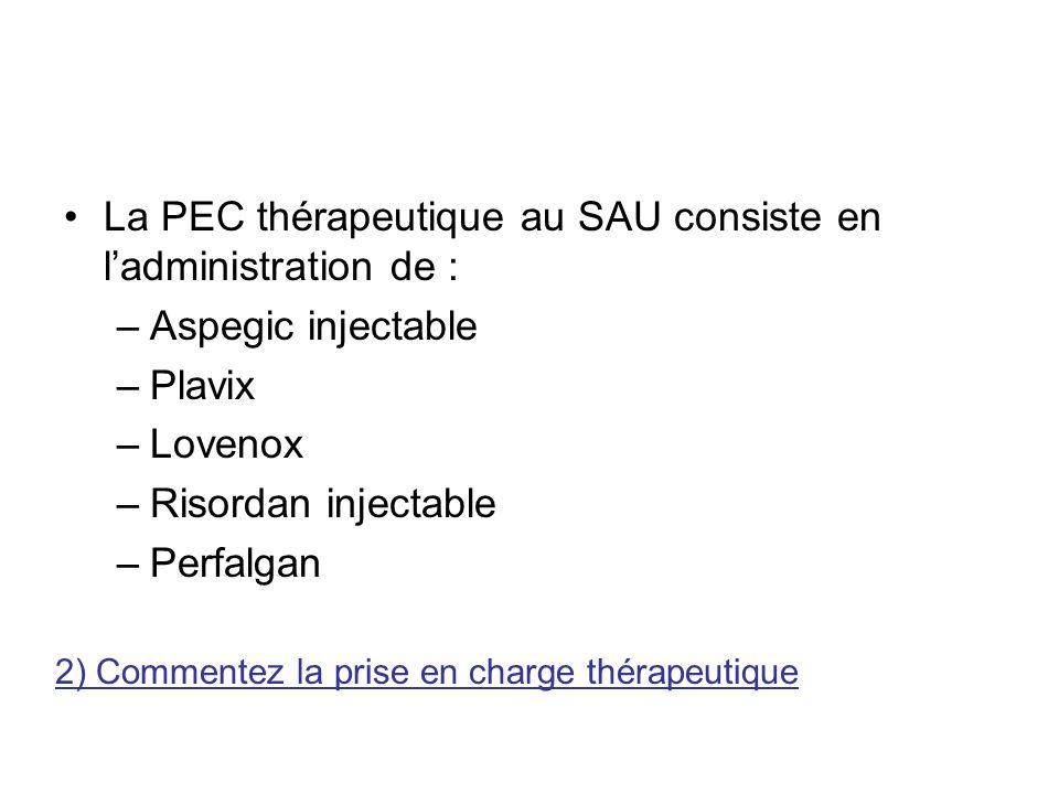 La PEC thérapeutique au SAU consiste en l'administration de :