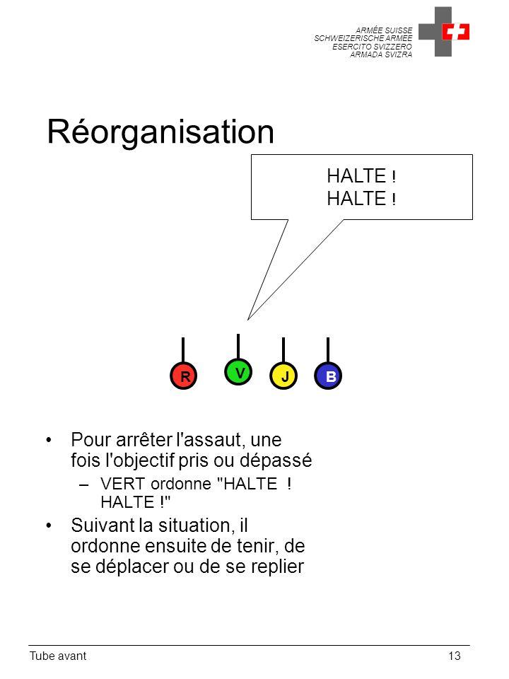 Réorganisation HALTE ! R. V. J. B. Pour arrêter l assaut, une fois l objectif pris ou dépassé.