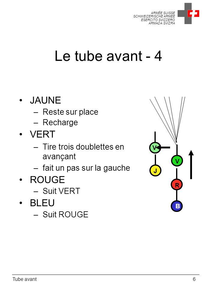 Le tube avant - 4 JAUNE VERT ROUGE BLEU Reste sur place Recharge