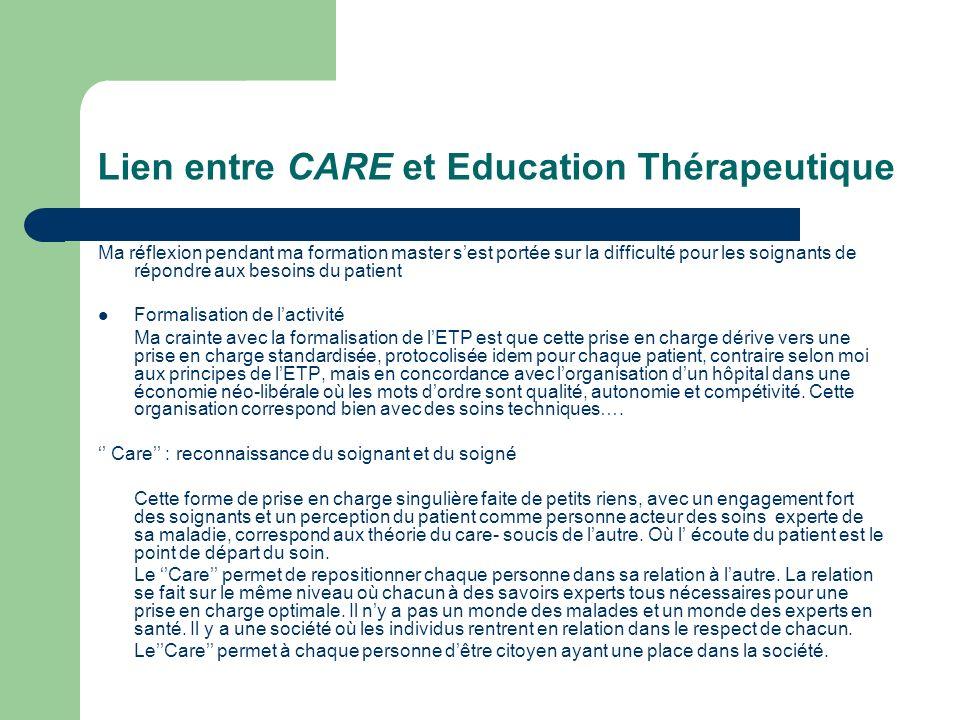 Lien entre CARE et Education Thérapeutique