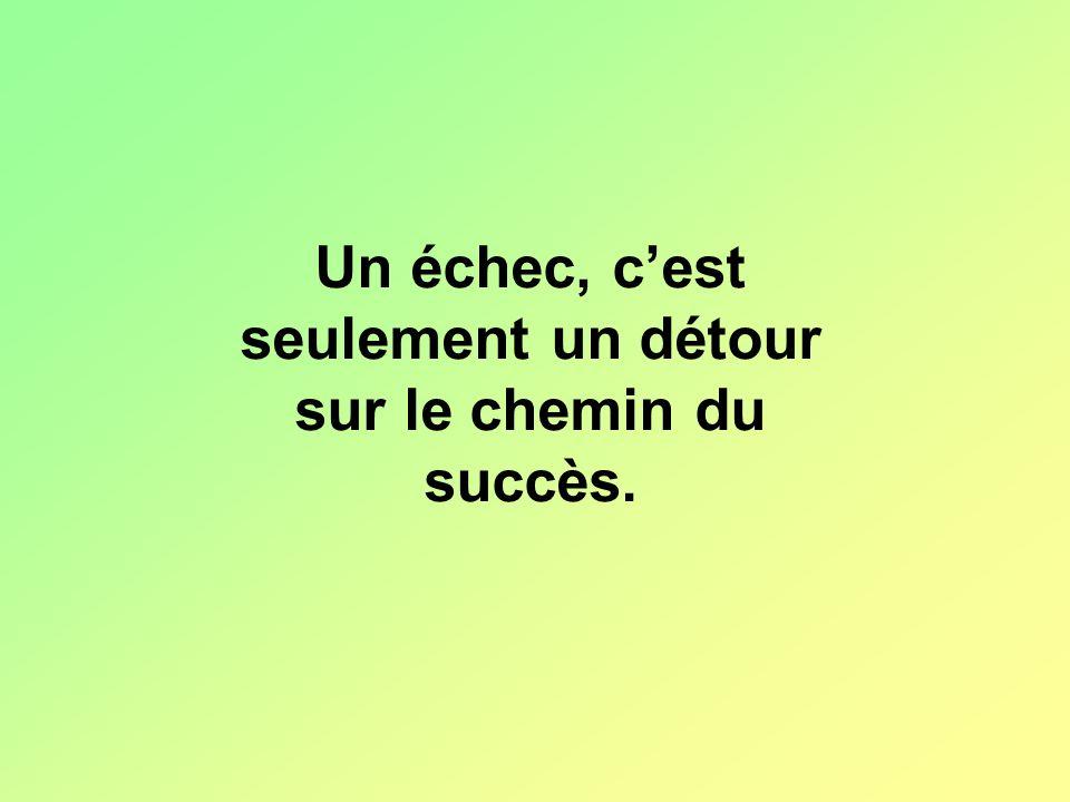 Un échec, c'est seulement un détour sur le chemin du succès.