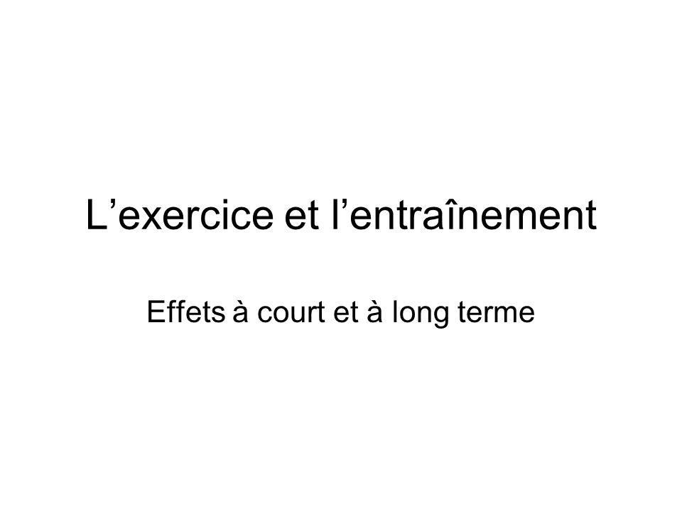 L'exercice et l'entraînement