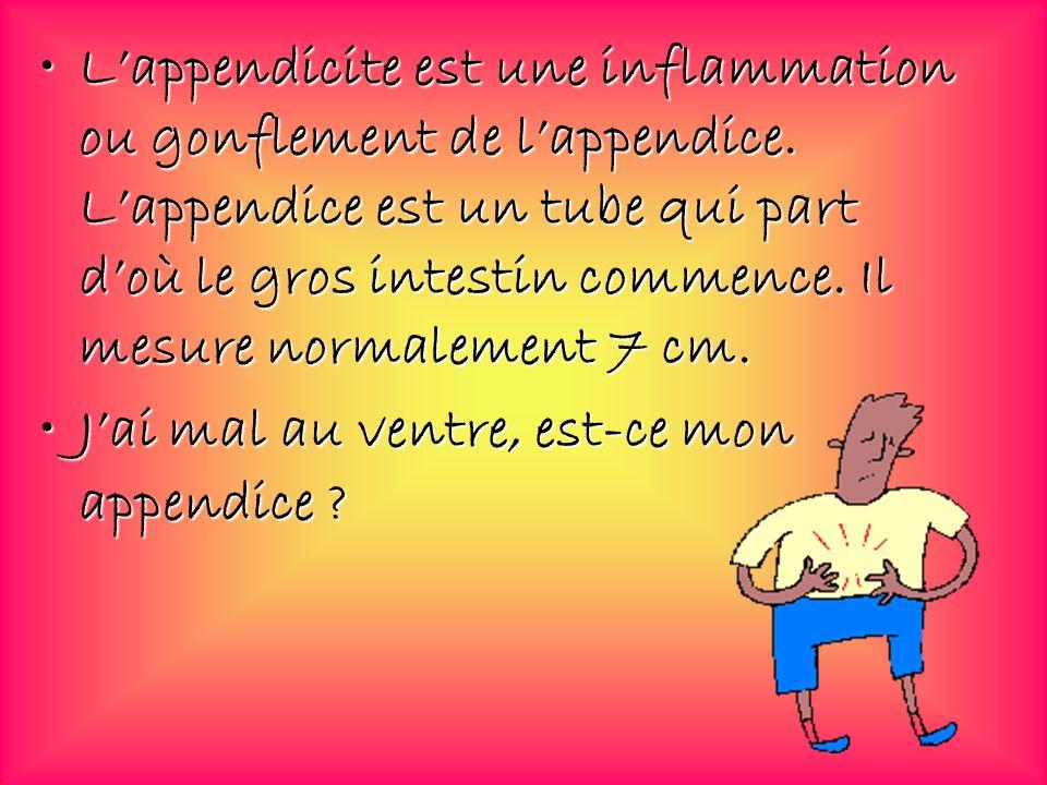 L'appendicite est une inflammation ou gonflement de l'appendice