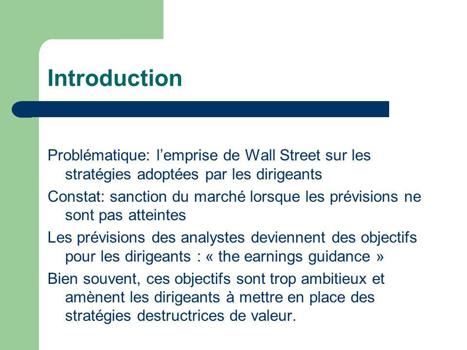 Introduction Problématique: l'emprise de Wall Street sur les stratégies adoptées par les dirigeants.