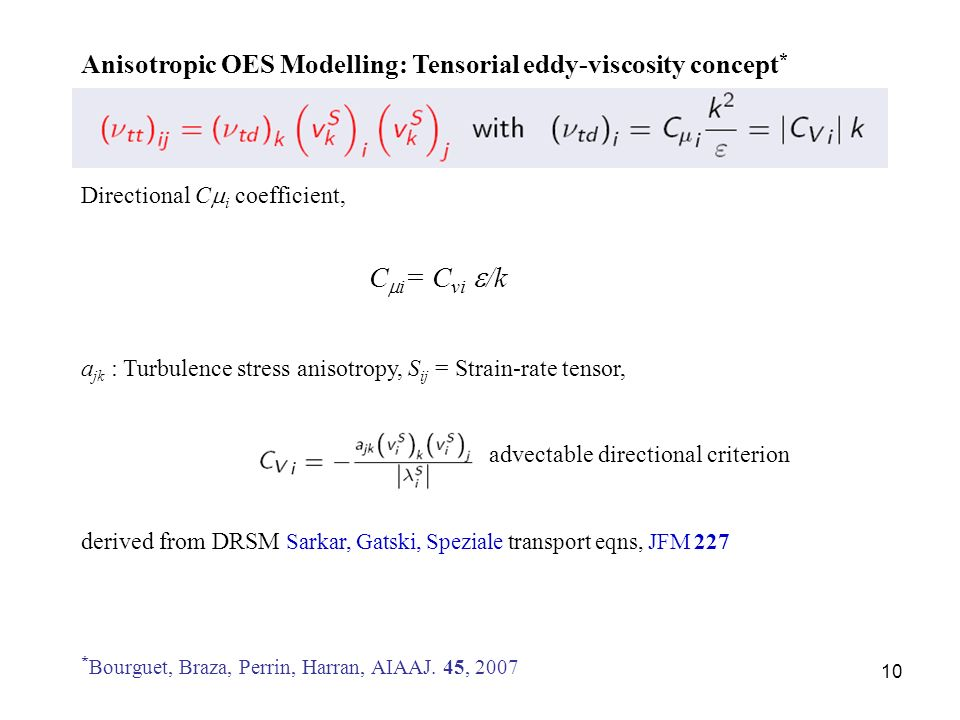 Anisotropic OES Modelling: Tensorial eddy-viscosity concept*