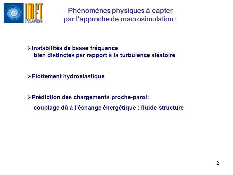 Phénomènes physiques à capter par l'approche de macrosimulation :