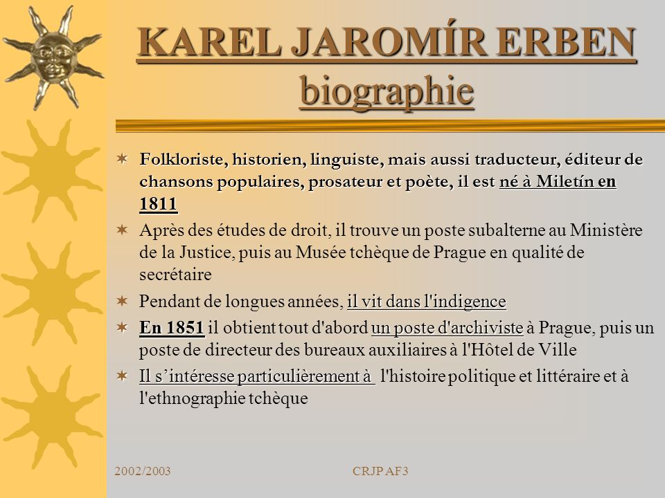 KAREL JAROMÍR ERBEN biographie