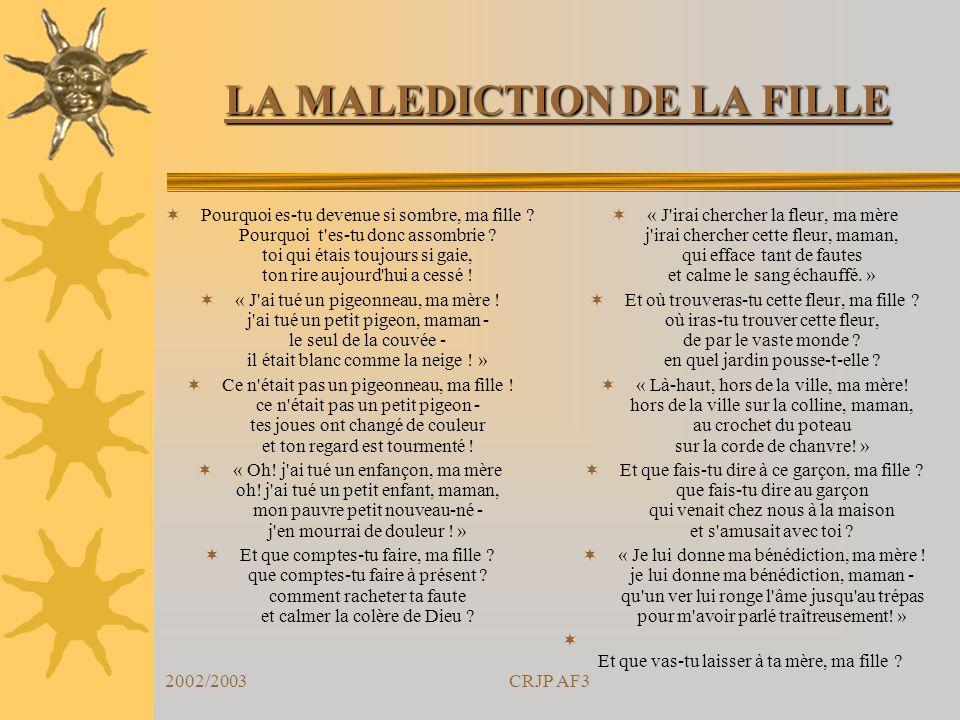 LA MALEDICTION DE LA FILLE