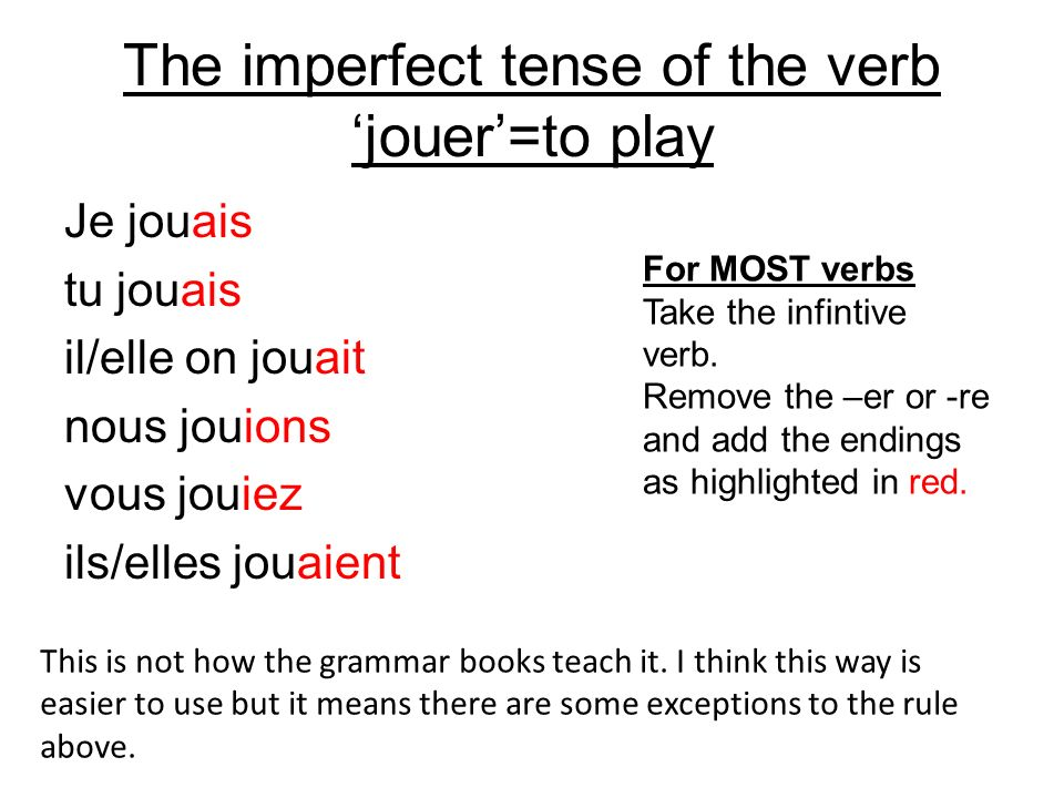 The imperfect tense of the verb 'jouer'=to play
