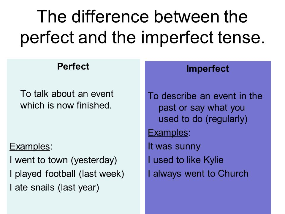The difference between the perfect and the imperfect tense.