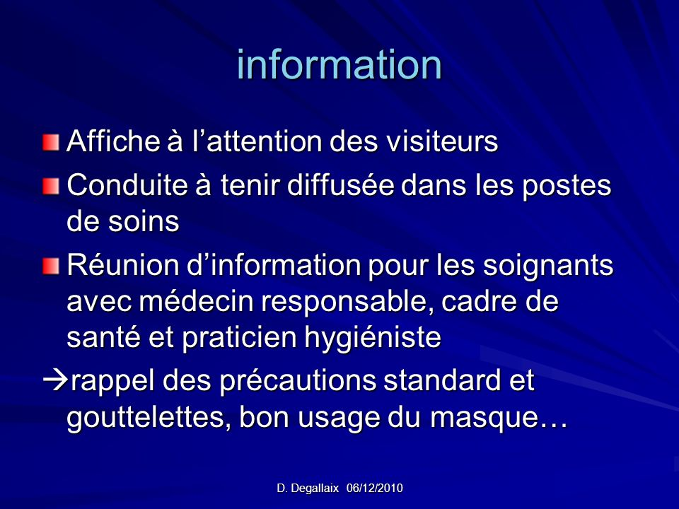 information Affiche à l'attention des visiteurs