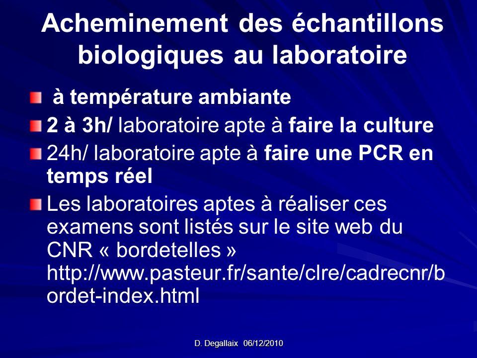 Acheminement des échantillons biologiques au laboratoire