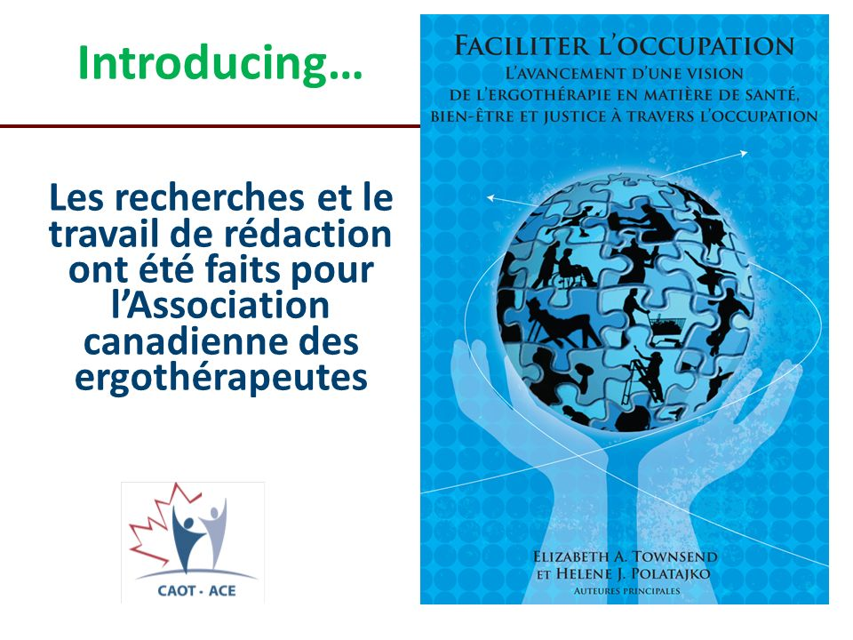 Introducing… Les recherches et le travail de rédaction ont été faits pour l'Association canadienne des ergothérapeutes.