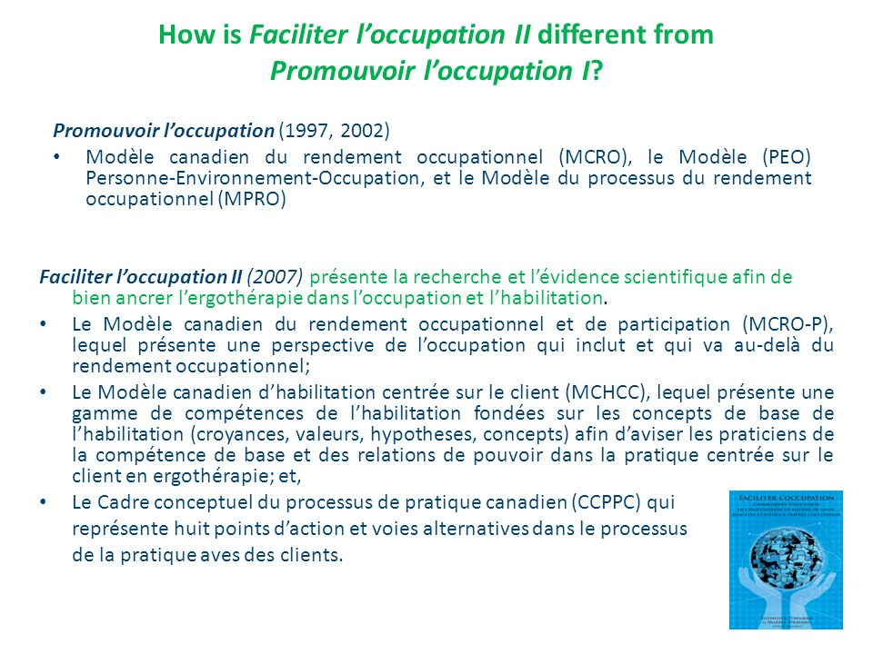How is Faciliter l'occupation II different from Promouvoir l'occupation I