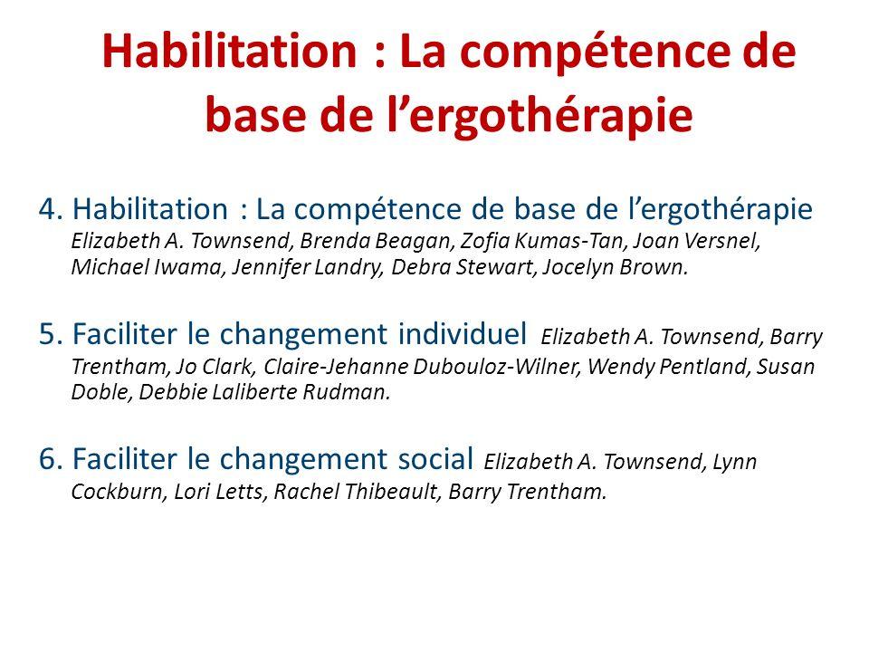 Habilitation : La compétence de base de l'ergothérapie