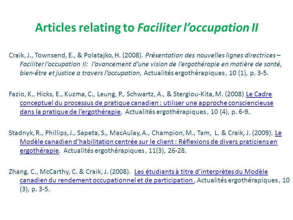 Articles relating to Faciliter l'occupation II