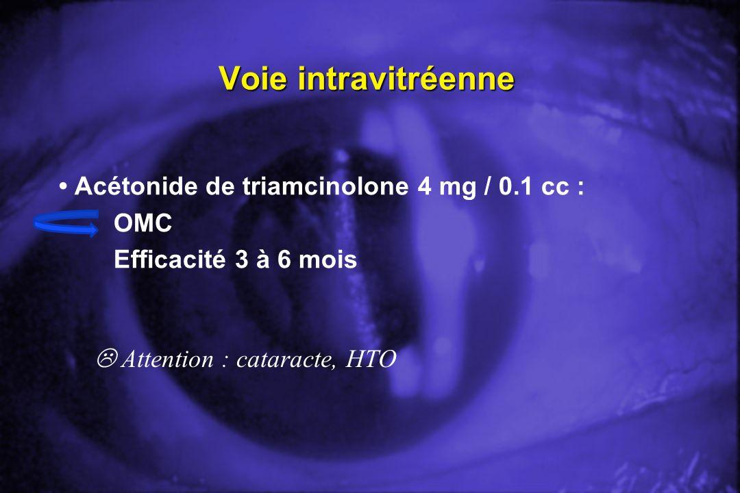 • Acétonide de triamcinolone 4 mg / 0.1 cc : OMC Efficacité 3 à 6 mois