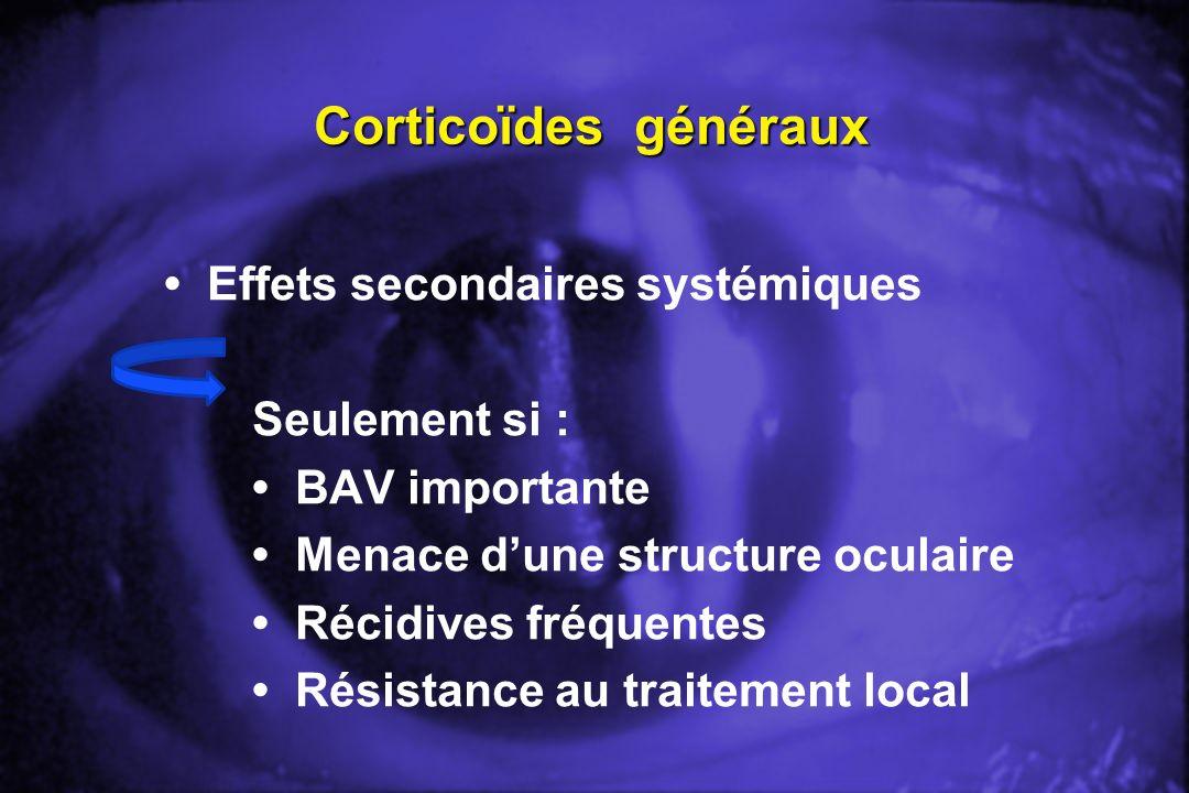 Corticoïdes généraux • Effets secondaires systémiques Seulement si :