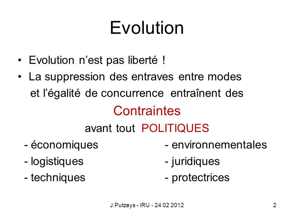 Evolution Contraintes Evolution n'est pas liberté !