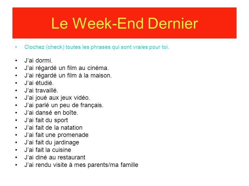 Le Week-End Dernier J'ai dormi. J'ai régardé un film au cinéma.