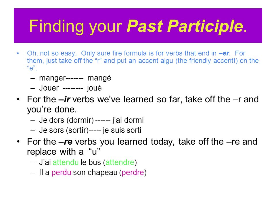 Finding your Past Participle.