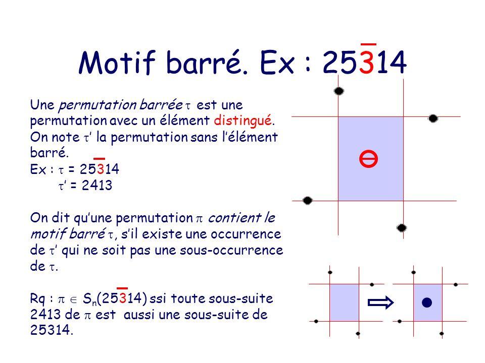 Motif barré. Ex : 25314 Une permutation barrée  est une permutation avec un élément distingué. On note ' la permutation sans l'élément barré.