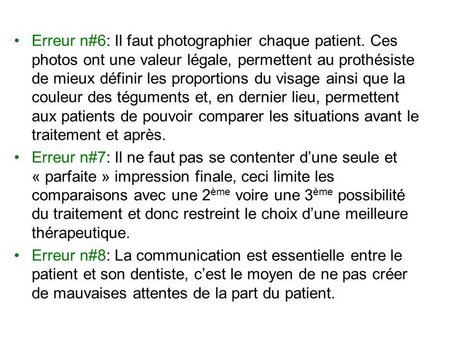 Erreur n#6: Il faut photographier chaque patient