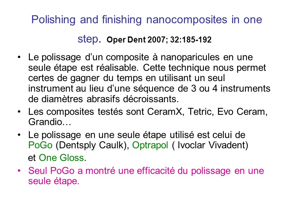 Polishing and finishing nanocomposites in one step