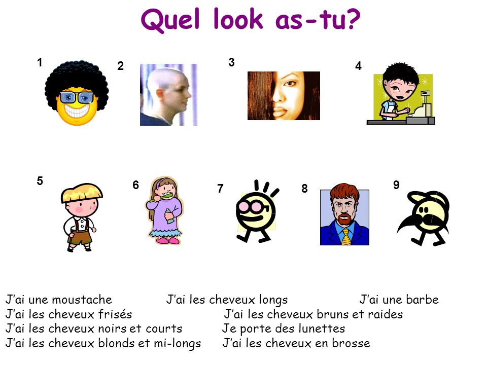 Quel look as-tu 1. 3. 2. 4. 5. 6. 9. 7. 8.