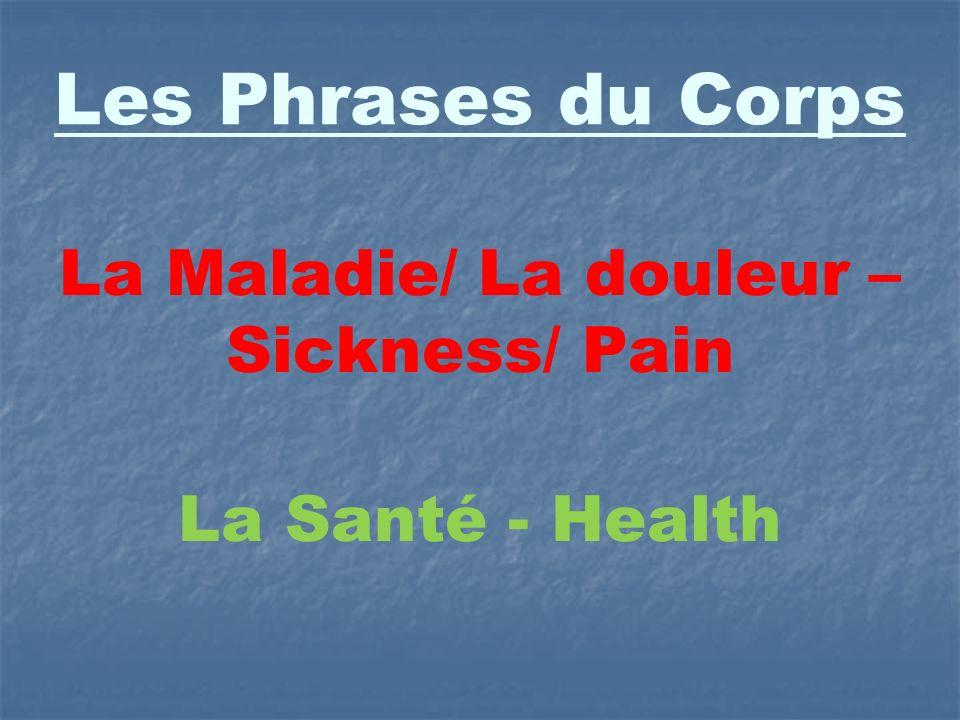 La Maladie/ La douleur – Sickness/ Pain La Santé - Health