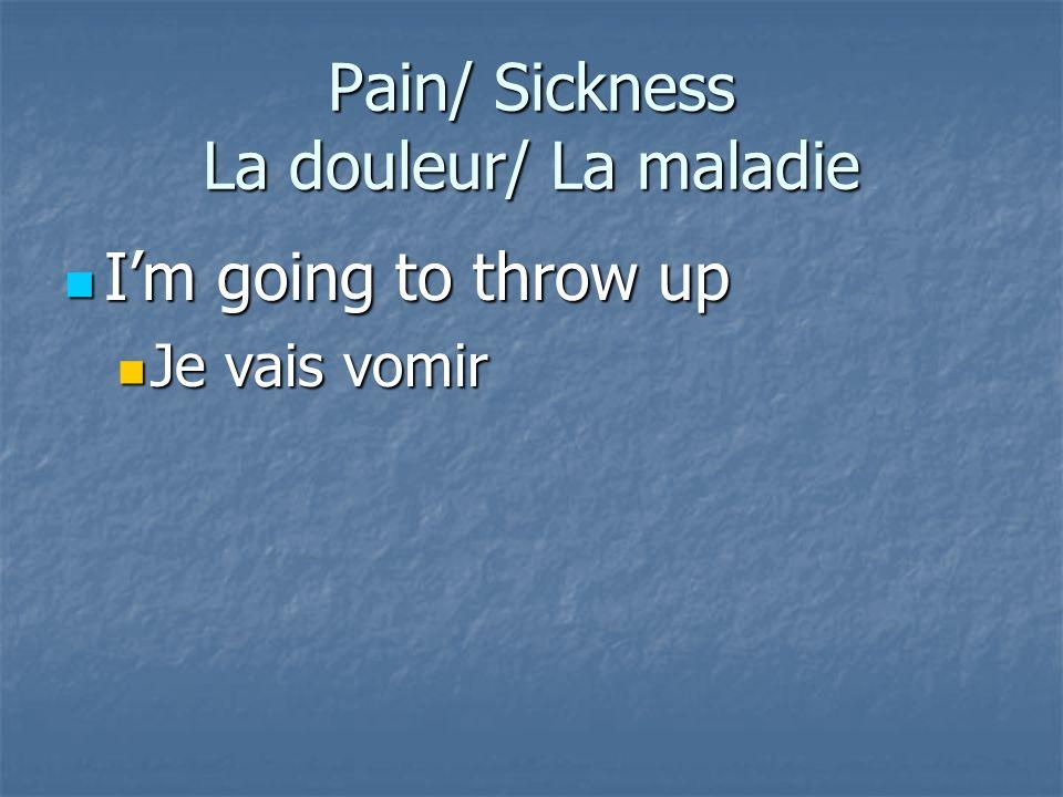Pain/ Sickness La douleur/ La maladie
