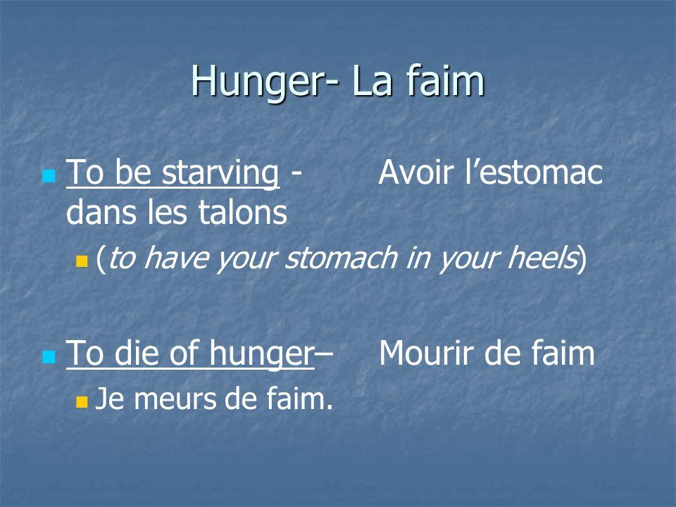 Hunger- La faim To be starving - Avoir l'estomac dans les talons