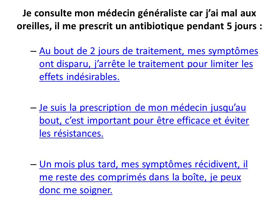 Je consulte mon médecin généraliste car j'ai mal aux oreilles, il me prescrit un antibiotique pendant 5 jours :