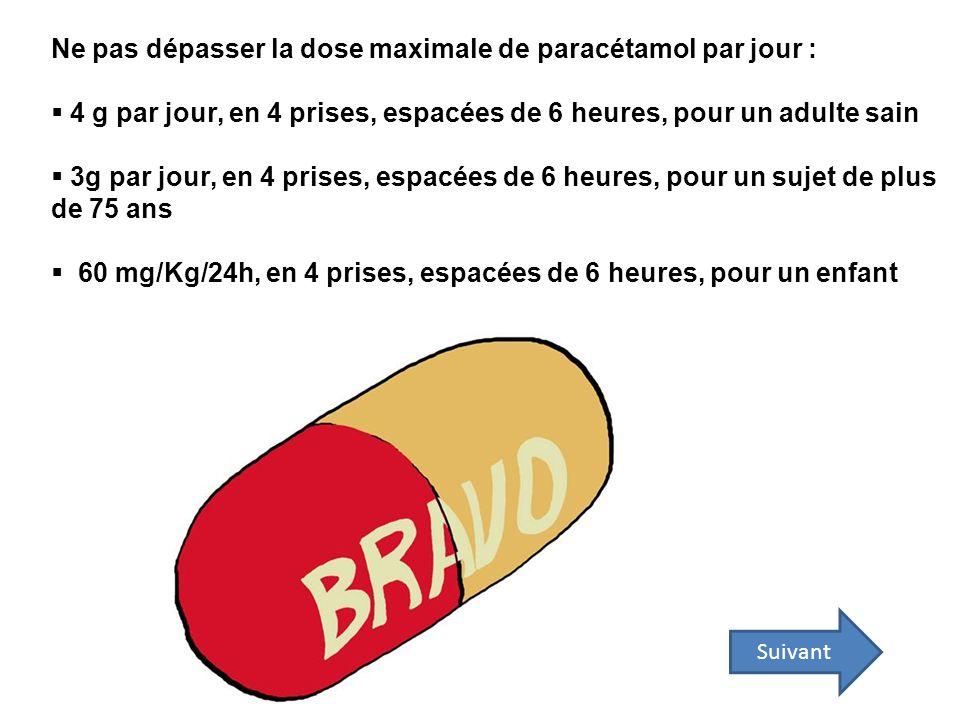 Ne pas dépasser la dose maximale de paracétamol par jour :