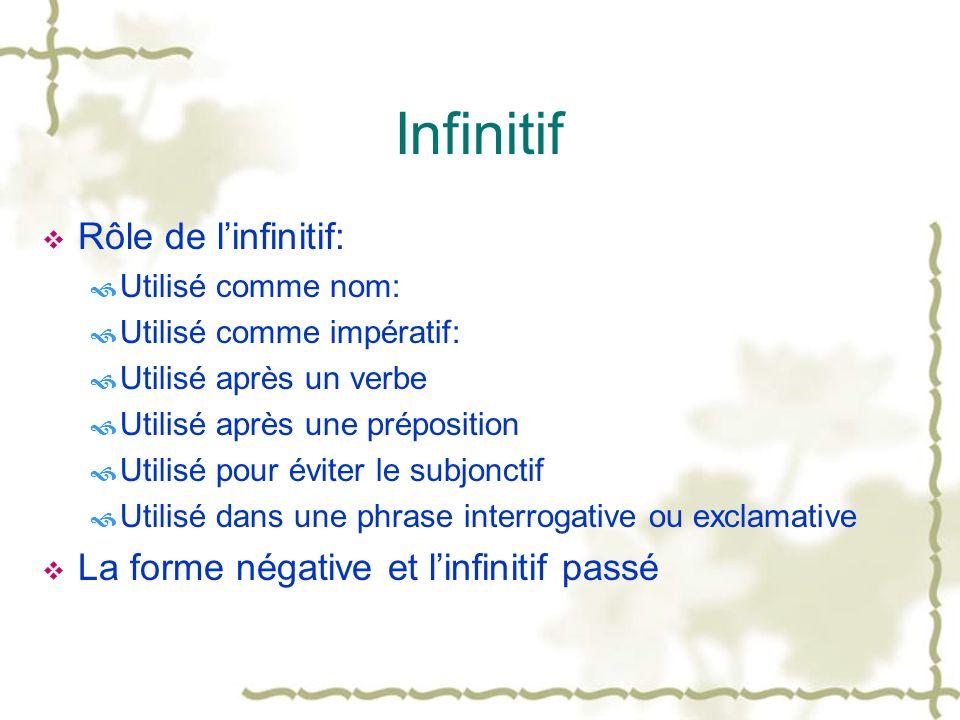 Infinitif Rôle de l'infinitif: La forme négative et l'infinitif passé