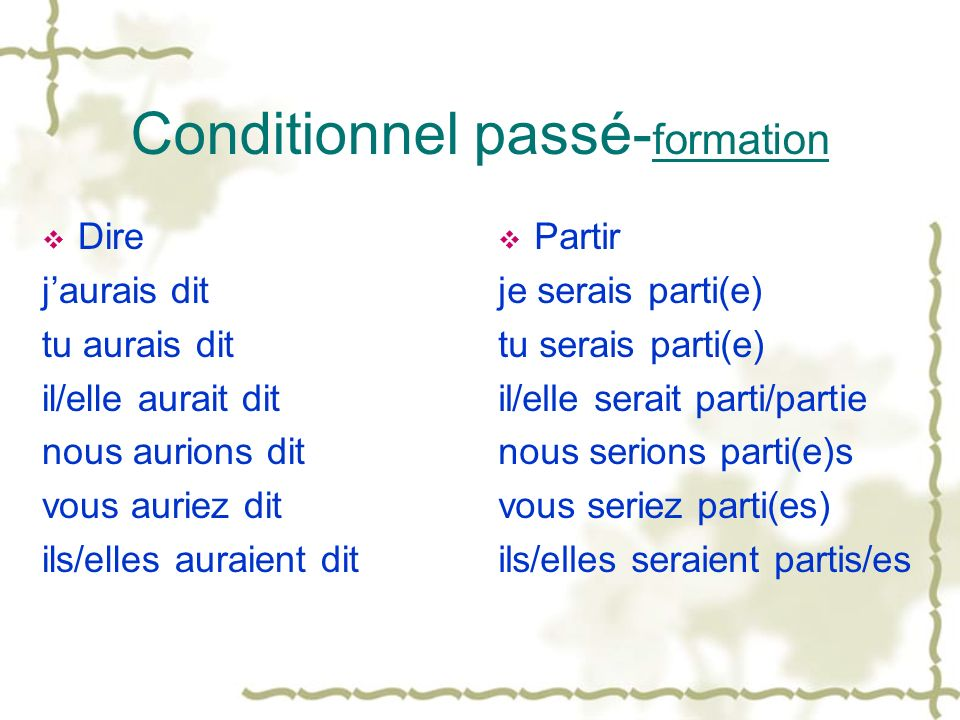 Conditionnel passé-formation