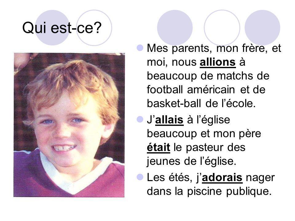 Qui est-ce Mes parents, mon frère, et moi, nous allions à beaucoup de matchs de football américain et de basket-ball de l'école.
