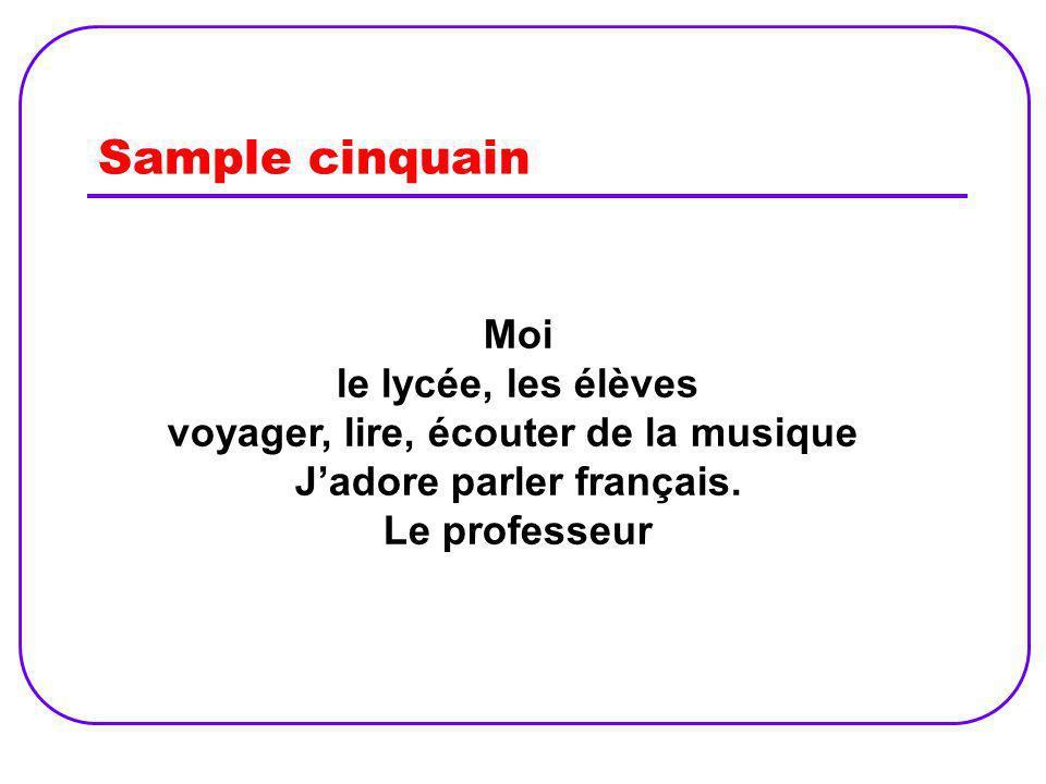 voyager, lire, écouter de la musique J'adore parler français.