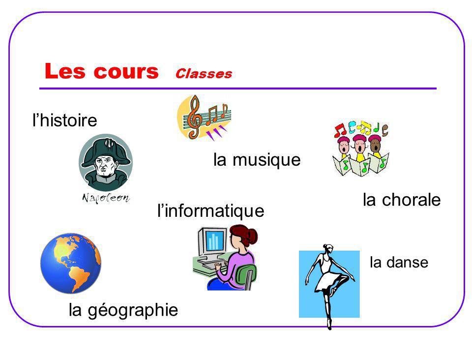 Les cours Classes l'histoire la musique la chorale l'informatique