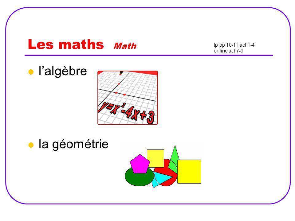 Les maths Math l'algèbre la géométrie tp pp 10-11 act 1-4