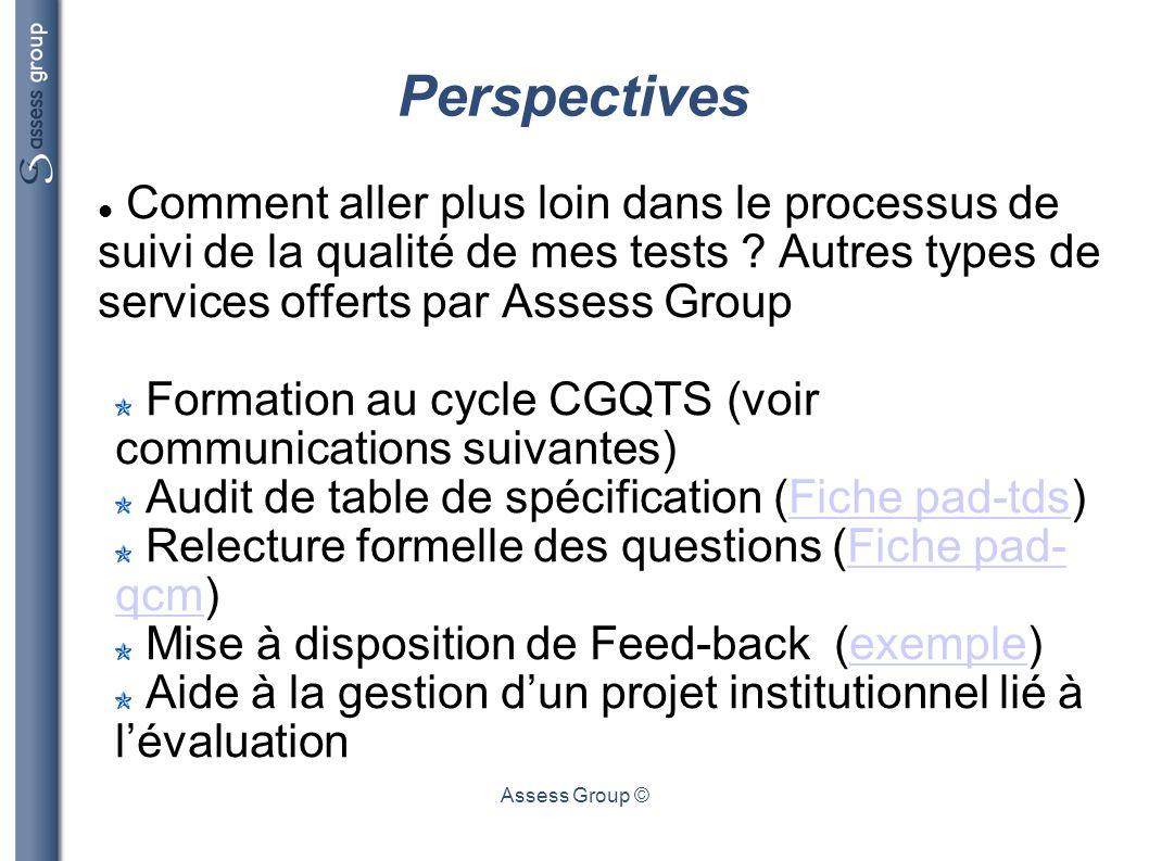 Perspectives Comment aller plus loin dans le processus de suivi de la qualité de mes tests Autres types de services offerts par Assess Group.