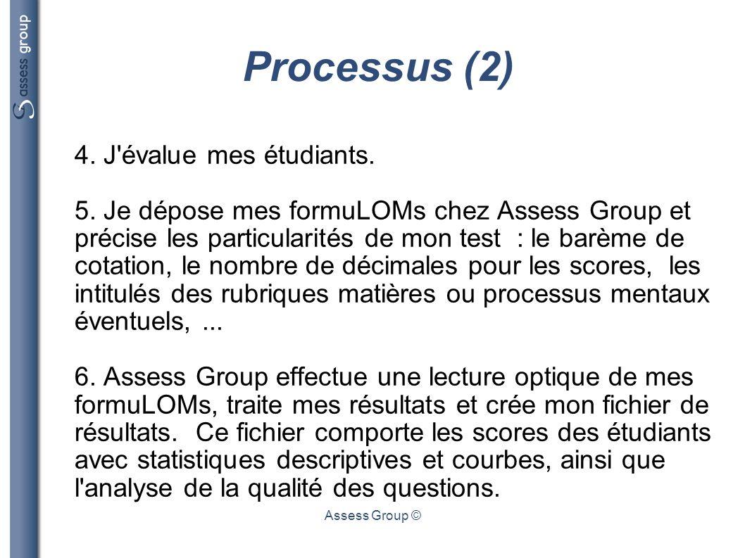 Processus (2) 4. J évalue mes étudiants.