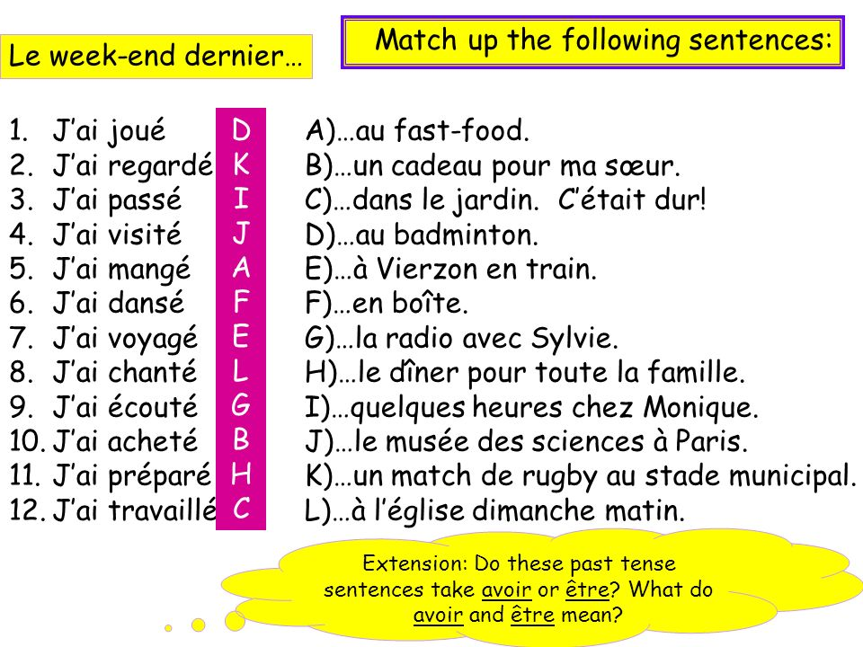 Match up the following sentences: Le week-end dernier…