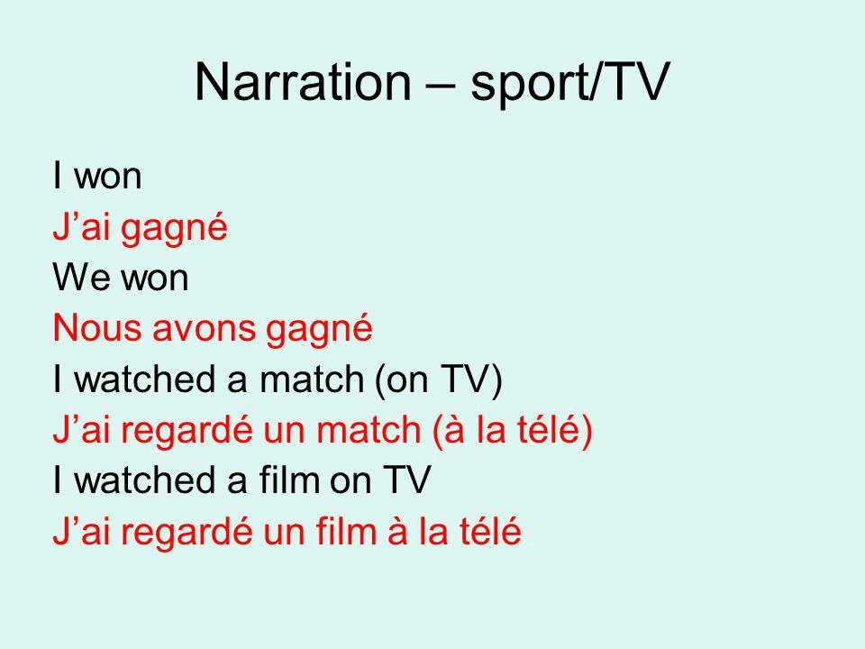 Narration – sport/TV I won J'ai gagné We won Nous avons gagné